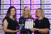 26 May 2017; The Lidl Teams of the League Awards were presented at Croke Park on Friday, May 26th. The best players from the 4 Divisions of the Lidl National Football Leagues are selected in their position on their Divisional team. Managers from opposition teams voted for the most impressive players from each match with the player receiving the most votes selected in their position on their Divisions best fifteen. Donna English of Cavan is pictured receiving her Team of the League award from LGFA President, Marie Hickey,right, and Lidl representative, Laura Byrne. Photo by Sam Barnes/Sportsfile