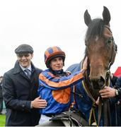 27 May 2017; Trainer Aidan O'Brien and jockey Ryan Moore with Churchill after winning the Tattersalls Irish 2,000 Guineas at Tattersalls Irish Guineas Festival at The Curragh, Co Kildare. Photo by Cody Glenn/Sportsfile