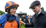 27 May 2017; Trainer Aidan O'Brien and jockey Ryan Moore after sending out Churchill to win the Tattersalls Irish 2,000 Guineas at Tattersalls Irish Guineas Festival at The Curragh, Co Kildare. Photo by Cody Glenn/Sportsfile