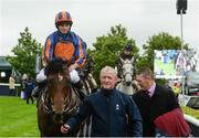 27 May 2017; Ryan Moore enters the parade ring on Churchill after winning the Tattersalls Irish 2,000 Guineas during the Tattersalls Irish Guineas Festival at The Curragh, Co Kildare. Photo by Cody Glenn/Sportsfile