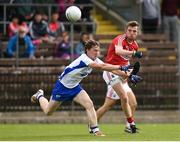 27 May 2017; Ryan Harkin of Cork in action against Cillian O'Keeffe of Waterford during the Munster GAA Football Junior Championship Quarter-Final match between Waterford and Cork at Fraher Field in Dungarvan, Co Waterford. Photo by Matt Browne/Sportsfile