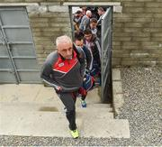 27 May 2017; Cork manager Peadar Healy arrives for the match against Waterford with his players before the Munster GAA Football Senior Championship Quarter-Final match between Waterford and Cork at Fraher Field in Dungarvan, Co Waterford. Photo by Matt Browne/Sportsfile