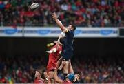 27 May 2017; Peter O'Mahony of Munster wins possession in a lineout ahead of Aaron Shingler of Scarlets during the Guinness PRO12 Final between Munster and Scarlets at the Aviva Stadium in Dublin. Photo by Diarmuid Greene/Sportsfile