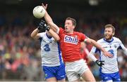 27 May 2017; Colm O'Neill of Cork in action against Stephen Prendergast and Thomas O'Gorman of Waterford during the Munster GAA Football Senior Championship Quarter-Final match between Waterford and Cork at Fraher Field in Dungarvan, Co Waterford. Photo by Matt Browne/Sportsfile