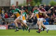 27 May 2017; Cormac Boyle of Westmeath in action against Emmett Nolan and Seán Ryan of Offaly, centre, during the Leinster GAA Hurling Senior Championship Quarter-Final match between Westmeath and Offaly at TEG Cusack Park in Mullingar, Co Westmeath. Photo by Piaras Ó Mídheach/Sportsfile