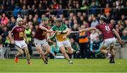 27 May 2017; Seán Ryan of Offaly in action against Westmeath's, from left, Alan Devine, Niall O'Brien and Aonghus Clarke during the Leinster GAA Hurling Senior Championship Quarter-Final match between Westmeath and Offaly at TEG Cusack Park in Mullingar, Co Westmeath. Photo by Piaras Ó Mídheach/Sportsfile