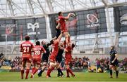 27 May 2017; Aaron Shingler of Scarlets wins possession in a lineout ahead of Peter O'Mahony of Munster during the Guinness PRO12 Final between Munster and Scarlets at the Aviva Stadium in Dublin. Photo by Diarmuid Greene/Sportsfile