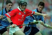 6 August 2000; David Cashman, Cork, in action against Joey Byrne and keith Doyle (right), Dublin. Cork v Dublin, All-Ireland Minor Hurling Championship Semi Final, Croke Park, Dublin. Hurling. Picture credit; Aoife Rice/SPORTSFILE