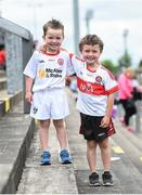 28 May 2017; 5 year old Tyrone supporter Tommy, left, and brother 6 year old Derry supporter John-Joe Loughran ahead of the Ulster GAA Football Senior Championship Quarter-Final match between Derry and Tyrone at Celtic Park in Derry. Photo by Ramsey Cardy/Sportsfile