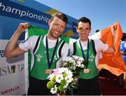 28 May 2017; Mark O'Donovan, left, and Shane O'Driscoll celebrate with their gold medals after they won the Lightweight Men's Pair Final during the European Rowing Championships at Racice in the Czech Republic. Photo by Sportsfile