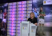 26 May 2017; The Lidl Teams of the League Awards were presented at Croke Park. The best players from the 4 Divisions of the Lidl National Football Leagues are selected in their position on their Divisional team. Managers from opposition teams voted for the most impressive players from each match with the player receiving the most votes selected in their position on their Divisions best fifteen. LGFA President Marie Hickey is pictured speaking during the event. Photo by Sam Barnes/Sportsfile