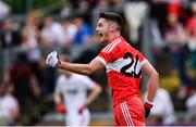 28 May 2017; Derry's Mark McGrogan celebrates a late score during the Electric Ireland GAA Ulster GAA Football Minor Championship Quarter-Final match between Derry and Tyrone at Celtic Park in Derry. Photo by Ramsey Cardy/Sportsfile