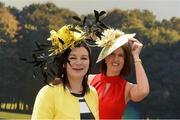 28 May 2017; Racegoers Claire Kelly, left, from Bishopstown, Co Cork, and Karen O'Donovan, from Riverstick, Co Cork, arrive before the Tattersalls Irish Guineas Festival at The Curragh, Co Kildare. Photo by Cody Glenn/Sportsfile