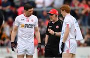 28 May 2017; Tyrone manager Mickey Harte in conversation with Sean Cavanagh, left, and Peter Harte, right, ahead of the Ulster GAA Football Senior Championship Quarter-Final match between Derry and Tyrone at Celtic Park in Derry. Photo by Ramsey Cardy/Sportsfile