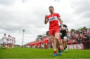 28 May 2017; Enda Lynn of Derry during the pre-match parade ahead of the Ulster GAA Football Senior Championship Quarter-Final match between Derry and Tyrone at Celtic Park in Derry. Photo by Ramsey Cardy/Sportsfile