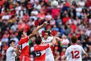 28 May 2017; Colm Cavanagh of Tyrone under pressure from Danny Heavron, left, and Benny Heron of Derry during the Ulster GAA Football Senior Championship Quarter-Final match between Derry and Tyrone at Celtic Park in Derry. Photo by Ramsey Cardy/Sportsfile