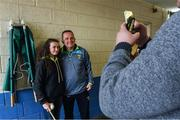28 May 2017; Wexford manager Davy Fitzgerald poses for a photo with Clodagh Leahy before after the Leinster GAA Hurling Senior Championship Quarter-Final match between Laois and Wexford at O'Moore Park, in Portlaoise, Co. Laois. Photo by Ray McManus/Sportsfile