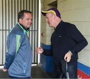 28 May 2017; Wexford manager Davy Fitzgerald with former Wexford star Tom Dempsey before the Leinster GAA Hurling Senior Championship Quarter-Final match between Laois and Wexford at O'Moore Park, in Portlaoise, Co. Laois. Photo by Ray McManus/Sportsfile