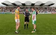 28 May 2017; Referee Noel Mooney with captains Donal Wrynn of Leitrim, left, and Eoin Murray of London during the coin toss prior to the Connacht GAA Football Senior Championship Quarter-Final match between London and Leitrim at McGovern Park, in Ruislip, London, England.   Photo by Seb Daly/Sportsfile