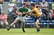28 May 2017; Seamus O'Carroll of Limerick in action against Martin McMahon of Clare during the Munster GAA Football Senior Championship Quarter-Final between Clare and Limerick at Cusack Park in Ennis, Co. Clare. Photo by Diarmuid Greene/Sportsfile