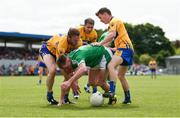 28 May 2017; Seamus O'Carroll of Limerick in action against John Hayes, Gordon Kelly, and Martin McMahon of Clare during the Munster GAA Football Senior Championship Quarter-Final between Clare and Limerick at Cusack Park in Ennis, Co. Clare. Photo by Diarmuid Greene/Sportsfile