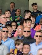 28 May 2017; Wexford manager Davy Fitzgerald, with County Board Chairman Derek Kent, behind, blesses himself following the National Athem before the Leinster GAA Hurling Senior Championship Quarter-Final match between Laois and Wexford at O'Moore Park, in Portlaoise, Co. Laois. Photo by Ray McManus/Sportsfile