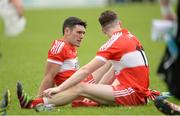 28 May 2017; Danny Heavron and Niall Loughlin of Derry after the Ulster GAA Football Senior Championship Quarter-Final match between Derry and Tyrone at Celtic Park, in Derry.  Photo by Oliver McVeigh/Sportsfile