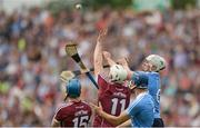 28 May 2017; Liam Rushe, behind, and Eoghan O'Donnell of Dublin in action against Conor Cooney, left, and Joe Canning of Galway during the Leinster GAA Hurling Senior Championship Quarter-Final match between Galway and Dublin at O'Connor Park, in Tullamore, Co. Offaly.  Photo by Piaras Ó Mídheach/Sportsfile