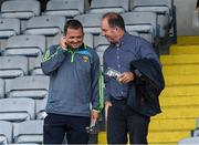 28 May 2017; Wexford manager Davy Fitzgerald with County Board Chairman Derek Kent after the Leinster GAA Hurling Senior Championship Quarter-Final match between Laois and Wexford at O'Moore Park, in Portlaoise, Co. Laois. Photo by Ray McManus/Sportsfile