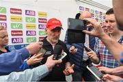 28 May 2017; Tyrone manager Mickey Harte being interviewed after the game the Ulster GAA Football Senior Championship Quarter-Final match between Derry and Tyrone at Celtic Park, in Derry. Photo by Oliver McVeigh/Sportsfile