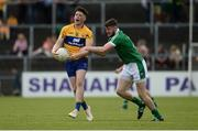 28 May 2017; Keelan Sexton of Clare in action against Brian Fanning of Limerick during the Munster GAA Football Senior Championship Quarter-Final between Clare and Limerick at Cusack Park in Ennis, Co. Clare. Photo by Diarmuid Greene/Sportsfile