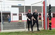 28 May 2017; Tyrone manager Mickey Harte and assistant manager Gavin Devlin take to the field for the Ulster GAA Football Senior Championship Quarter-Final match between Derry and Tyrone at Celtic Park, in Derry.  Photo by Oliver McVeigh/Sportsfile