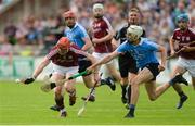 28 May 2017; Conor Whelan of Galway handpasses under pressure from Eoghan Conroy of Dublin in the first half during the Leinster GAA Hurling Senior Championship Quarter-Final match between Galway and Dublin at O'Connor Park, in Tullamore, Co. Offaly.  Photo by Piaras Ó Mídheach/Sportsfile