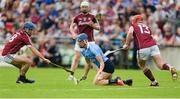 28 May 2017; Chris Crummey of Dublin in action against Galway's, from left, Johnny Coen, Joe Canning and Conor Whelan during the Leinster GAA Hurling Senior Championship Quarter-Final match between Galway and Dublin at O'Connor Park, in Tullamore, Co. Offaly.  Photo by Piaras Ó Mídheach/Sportsfile