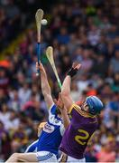 28 May 2017; Jack Guiney of Wexford in action against Leigh Bergin of Laois during the Leinster GAA Hurling Senior Championship Quarter-Final match between Laois and Wexford at O'Moore Park, in Portlaoise, Co. Laois. Photo by Ray McManus/Sportsfile