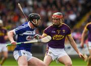 28 May 2017; John Lennon of Laois in action against Diarmuid O'Keeffe of Wexford during the Leinster GAA Hurling Senior Championship Quarter-Final match between Laois and Wexford at O'Moore Park, in Portlaoise, Co. Laois. Photo by Ray McManus/Sportsfile