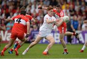 28 May 2017; Conor Meyler of Tyrone in action against Karl McKaigue and Ciaran McFaul of Derry during the Ulster GAA Football Senior Championship Quarter-Final match between Derry and Tyrone at Celtic Park, in Derry. Photo by Oliver McVeigh/Sportsfile