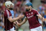 28 May 2017; Conor Cooney, right, and Joe Canning of Galway celebrate after Cooney scored his side's second goal during the Leinster GAA Hurling Senior Championship Quarter-Final match between Galway and Dublin at O'Connor Park, in Tullamore, Co. Offaly. Photo by Daire Brennan/Sportsfile