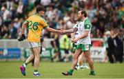 28 May 2017; Conor Cullen of Leitrim and Owen Mulligan of London shake hands following the Connacht GAA Football Senior Championship Quarter-Final match between London and Leitrim at McGovern Park, in Ruislip, London, England.   Photo by Seb Daly/Sportsfile