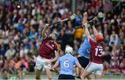 28 May 2017; Jason Flynn, left, and Conor Whelan of Galway in action against Liam Rushe, left, and Eoghan O'Donnell of Dublin during the Leinster GAA Hurling Senior Championship Quarter-Final match between Galway and Dublin at O'Connor Park, in Tullamore, Co. Offaly. Photo by Daire Brennan/Sportsfile