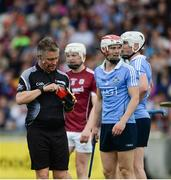 28 May 2017; Referee Barry Kelly shows Cian O'Callaghan of Dublin a red card during the Leinster GAA Hurling Senior Championship Quarter-Final match between Galway and Dublin at O'Connor Park, in Tullamore, Co. Offaly. Photo by Daire Brennan/Sportsfile