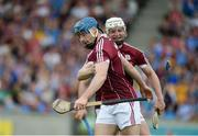 28 May 2017; Conor Cooney, left, and Joe Canning of Galway celebrate after Cooney scored his side's second goal during the Leinster GAA Hurling Senior Championship Quarter-Final match between Galway and Dublin at O'Connor Park, in Tullamore, Co. Offaly. Photo by Daire Brennan/Sportsfile