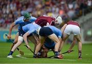 28 May 2017; Dublin players, left to right, Chris Crummey, Shane Bennett, Eoghan O'Donnell, and Cian O'Callaghan, battle for the ball against Galway players, Jason Flynn, left, and Joseph Cooney, during the Leinster GAA Hurling Senior Championship Quarter-Final match between Galway and Dublin at O'Connor Park, in Tullamore, Co. Offaly. Photo by Daire Brennan/Sportsfile