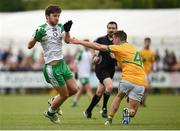 28 May 2017; Kieran Hughes of London in action against Paddy Maguire of Leitrim during the Connacht GAA Football Senior Championship Quarter-Final match between London and Leitrim at McGovern Park, in Ruislip, London, England.   Photo by Seb Daly/Sportsfile