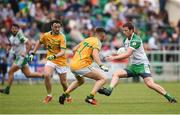 28 May 2017; Mark Gottsche of London in action against Oisín Madden of Leitrim during the Connacht GAA Football Senior Championship Quarter-Final match between London and Leitrim at McGovern Park, in Ruislip, London, England.   Photo by Seb Daly/Sportsfile