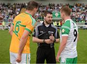 28 May 2017; Referee Noel Mooney talks to captains Donal Wrynn of Leitrim, left, and Liam Gavaghan of London, right, prior to the Connacht GAA Football Senior Championship Quarter-Final match between London and Leitrim at McGovern Park, in Ruislip, London, England.   Photo by Seb Daly/Sportsfile