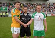 28 May 2017; Referee Noel Mooney with captains Donal Wrynn of Leitrim, left, and Liam Gavaghan of London, right, prior to the Connacht GAA Football Senior Championship Quarter-Final match between London and Leitrim at McGovern Park, in Ruislip, London, England.   Photo by Seb Daly/Sportsfile