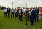 28 May 2017; Uachtarán Chumann Lúthchleas Gael Aogán Ó Fearghail speaking at the unveiling of the new stand prior to the Connacht GAA Football Senior Championship Quarter-Final match between London and Leitrim at McGovern Park, in Ruislip, London, England.   Photo by Seb Daly/Sportsfile