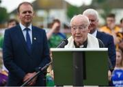 28 May 2017; Father Seamus Hetherton, from Virginia, Co Cavan, a former All-Ireland winner with Cavan in 1952, speaking prior to the Connacht GAA Football Senior Championship Quarter-Final match between London and Leitrim at McGovern Park, in Ruislip, London, England.   Photo by Seb Daly/Sportsfile