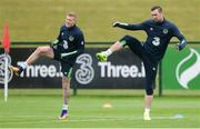 29 May 2017; James McClean, left, and Shane Duffy of Republic of Ireland during squad training at the FAI National Training Centre in Abbotstown, Co Dublin. Photo by Piaras Ó Mídheach/Sportsfile